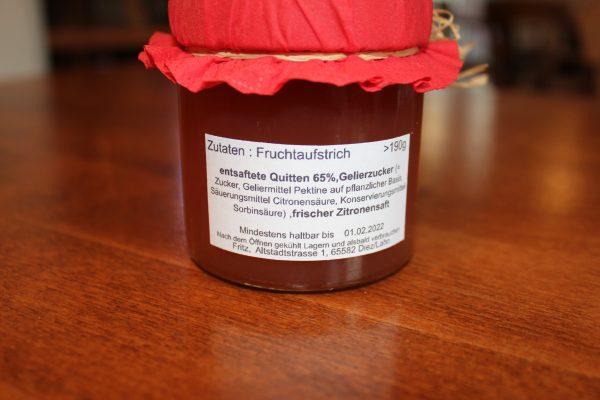 Quitte Marmelade Zutaten